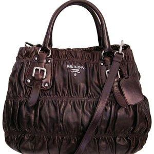 Prada Nappa Gaufre Aubergine Leather Tote